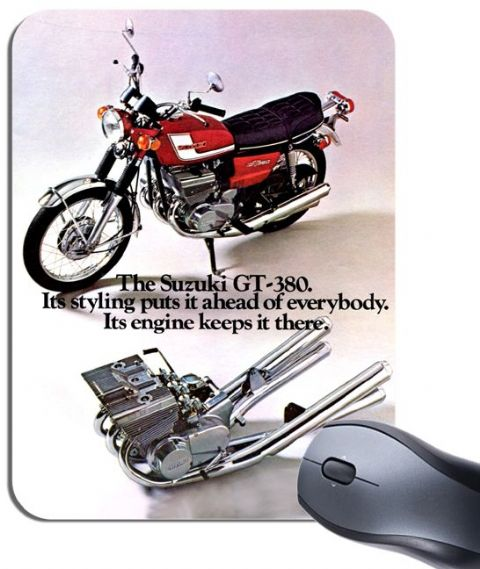 Gt380 Sebring Brochure Mouse Mat. Motorcycle Motorbike Classic Bike Mouse Pad Classic Suzuki GT 380